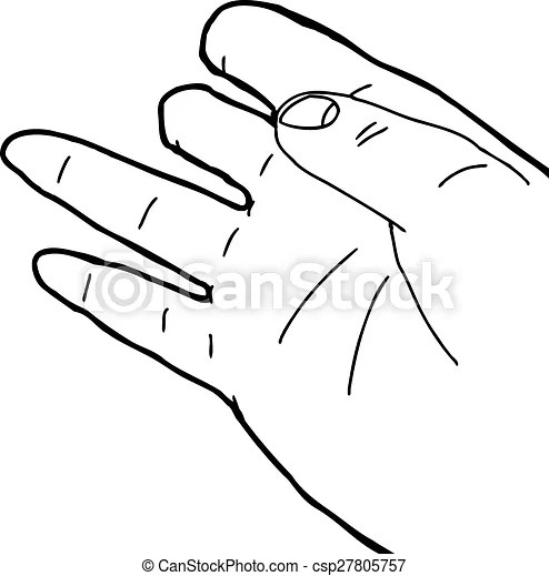Disabled hand outline. Outlined cartoon illustration of