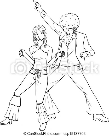 Disco 70's. Outline illustration of a couple dancing in
