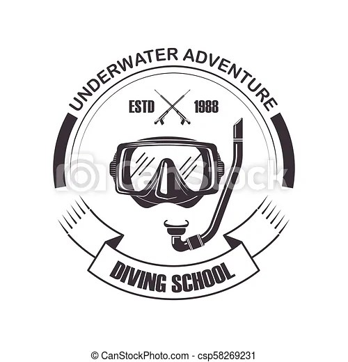 Diving school vector scuba mask icon. Diving school or