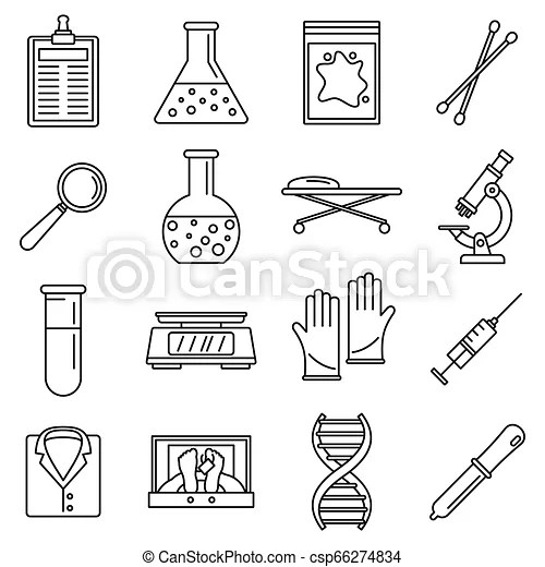 Dna investigation laboratory icons set, outline style. Dna
