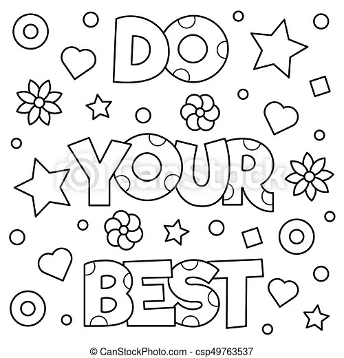 Do your best. coloring page. vector illustration. Do your