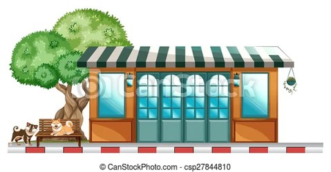 restaurant outside background dogs cartoon staying vector clipart drawings clip italian drawing illustration cafe waiter line canstockphoto delivery shutterstock