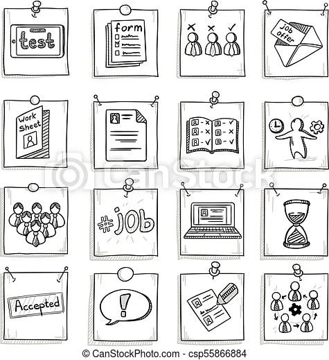 Doodle business career development elements set. Doodle
