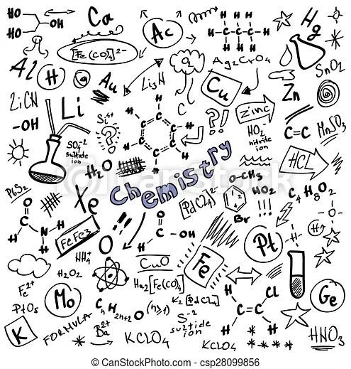 Doodle chemistry formulas isolated on white background