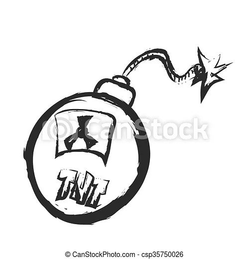 Doodle old grenade with burning fuse, dirty bomb with tnt