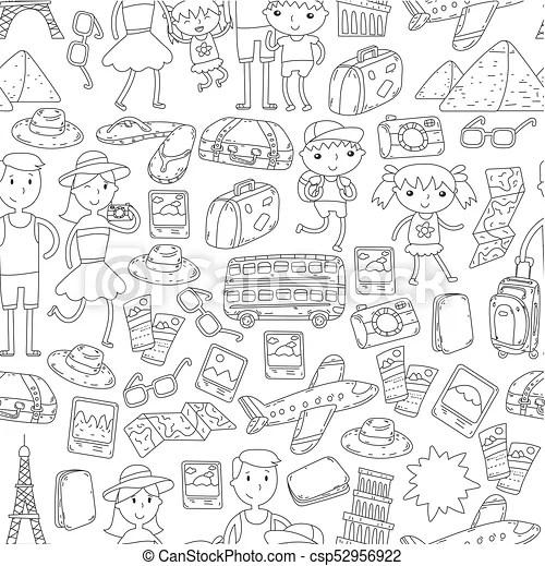 Doodle vector set travel , vacation, adventure. children