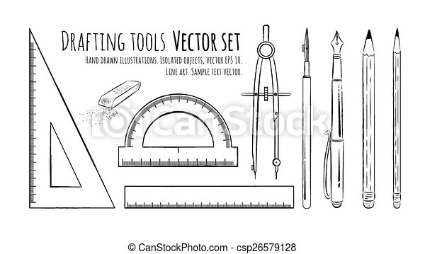 Drafting tools. vector set. isolated.vector illustration.