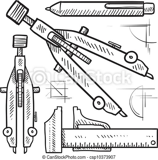Drafting tools sketch. Doodle style drafting tools sketch