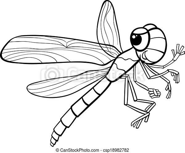 Dragonfly insect coloring page. Black and white cartoon
