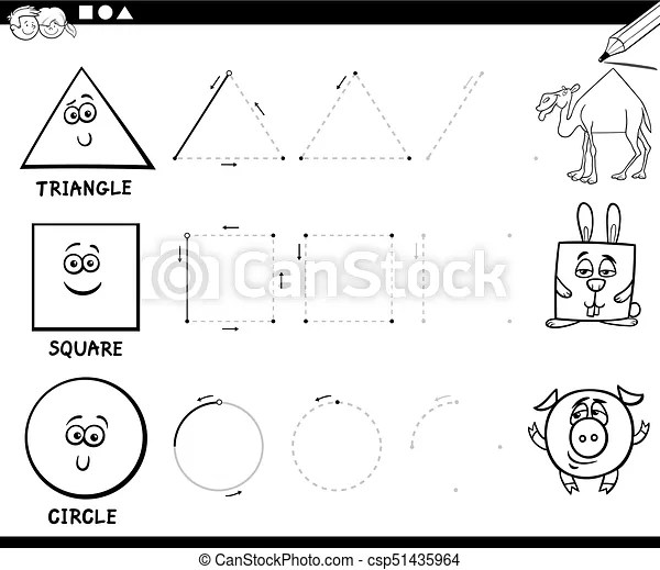 Draw basic geometric shapes coloring page. Black and white