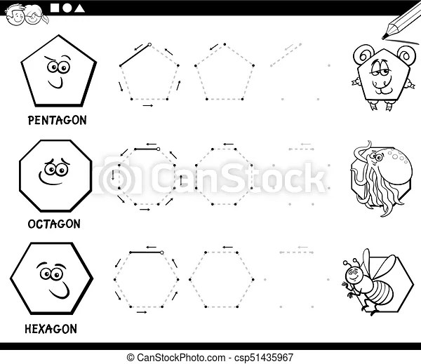 Draw geometric shapes coloring page. Black and white
