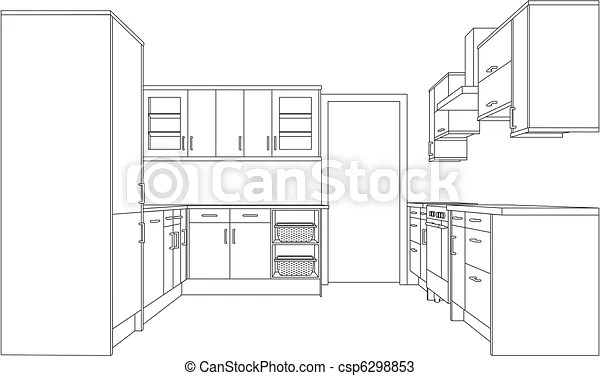 A 3d single point perspective line drawing of a fitted