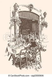 cafe drawing outdoor street european italy vector rome hand drawings clipart romantic illustration clip illustrations line
