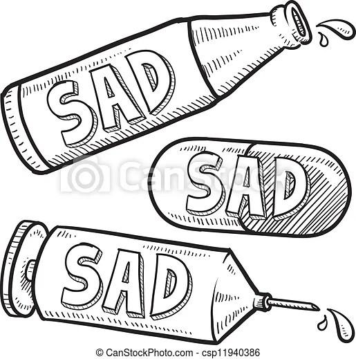 Drug and alcohol depression sketch. Doodle style bottle