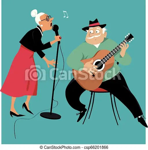 Duet.eps. Old lady singing and an old gentleman accompany her on a guitar, Drawings and ...