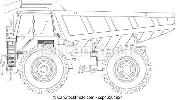 Dump truck sketch. Heavy duty dump truck line drawing.