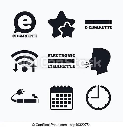 E-cigarette signs. electronic smoking icons. E-cigarette