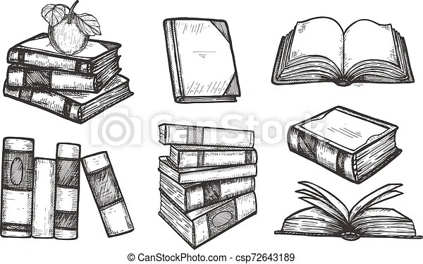 Educational books icons collection. Vector illustration of