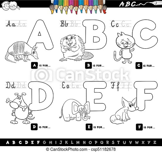 Educational cartoon alphabet letters for coloring. Black