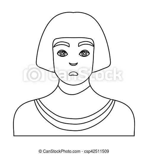 Egyptian man icon in outline style isolated on white
