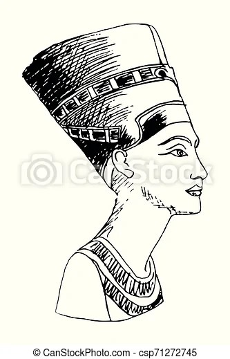 Black Nefertiti Drawing : black, nefertiti, drawing, Egyptian, Queen, Nefertiti., Vector, Image, Stylized, Pencil, Drawing, Isolated, White, Background., CanStock