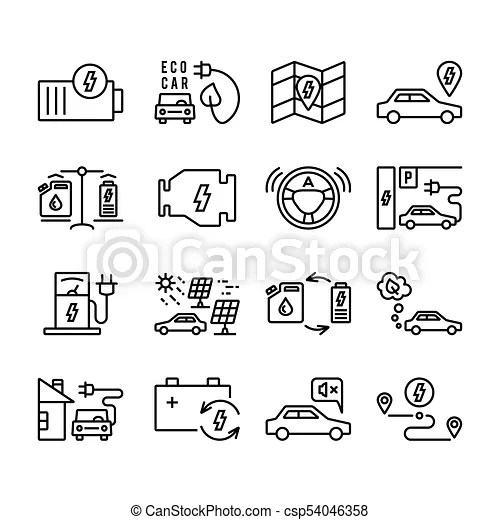 Electric car outline vector icons set. electro vehicle