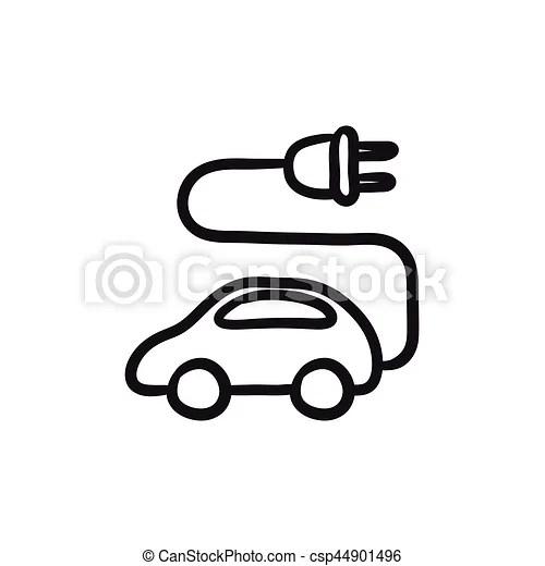 Electric car sketch icon. Electric car vector sketch icon