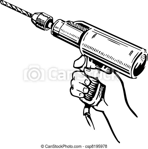 Electric hand drill in the hand on white background.