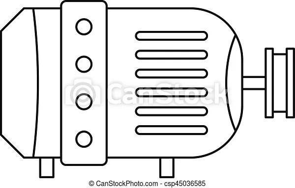 Electric motor icon, outline style. Electric motor icon