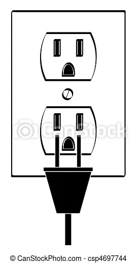 Electric or power outlet outline with plug drawing