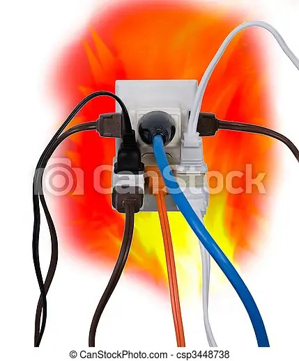Fuse Box Cartoon Electrical Overload Hazardous Overloaded Electrical Power