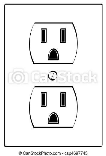 Outline of grounded electrical power outlet stock