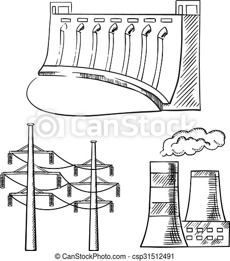 Electrical power plants and towers sketch icons. Hydro