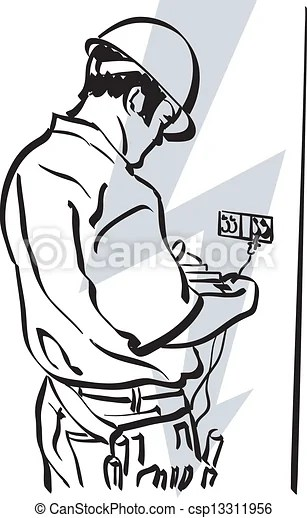 Illustration of an electrician at work.