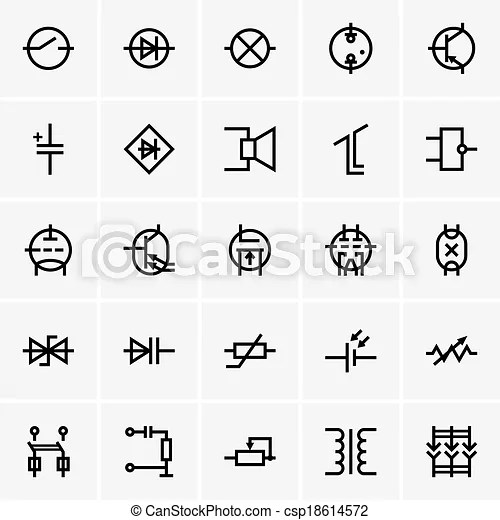 Set of electronic components icons.