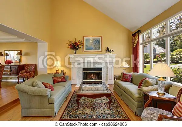 Elegant Living Room Interior Gray Sofas With Red Pillows And White Fireplace Create Comfort And Cozy Atmosphere Canstock