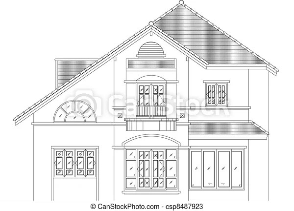 Elevation house vector. Elevation house drawing vector,eps10.