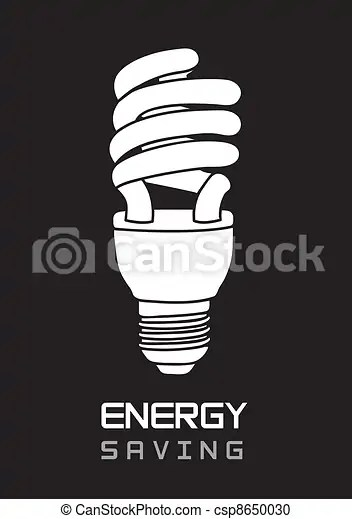 Black And White Bulb Electric Energy Saving Vector