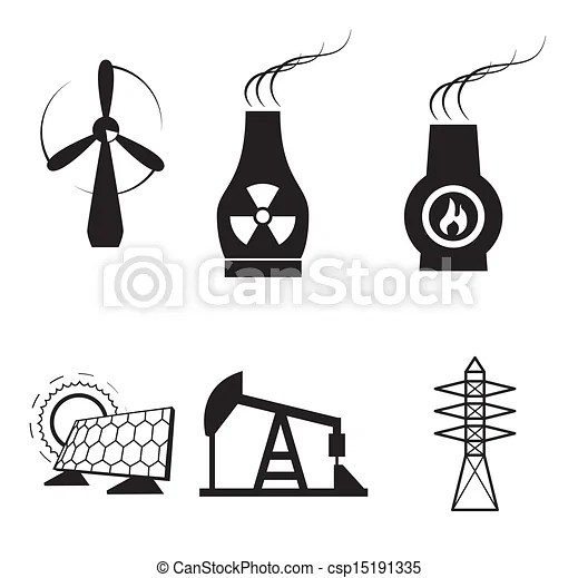 Energy types over white background vector illustration.