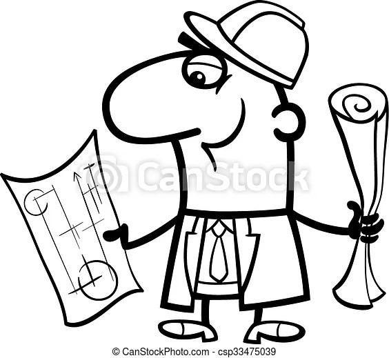 Engineer cartoon coloring book. Black and white cartoon