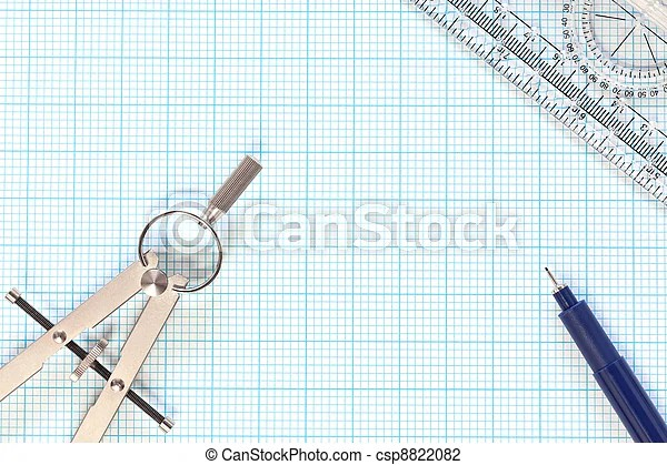 Engineering Graph Paper And Compass Still Life Still Life