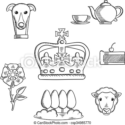 England traditional objects and symbols sketch icons with
