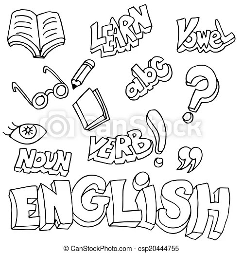English symbols and learning items. An image of english