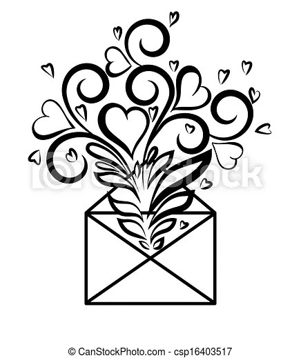 Envelope with floral design and hearts, the symbol of love
