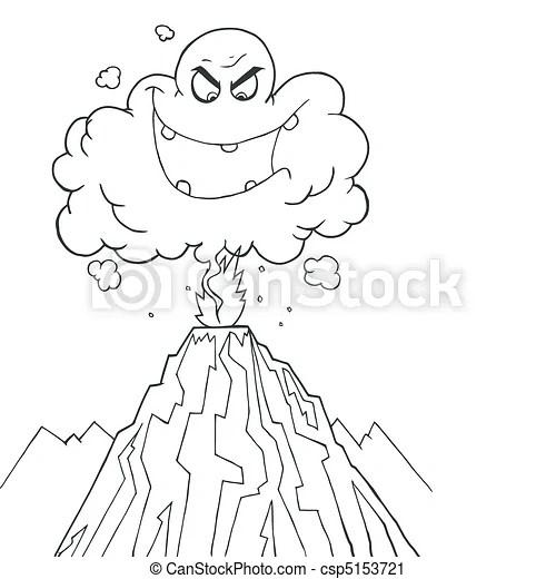 Erupting Volcano Drawing