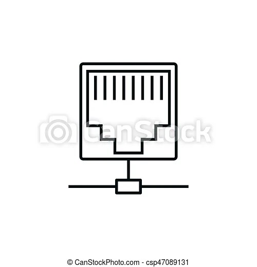 Ethernet line icon. Ethernet port line icon on white