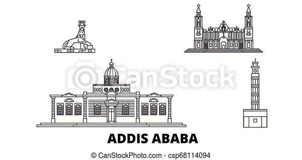 Ethiopia, addis ababa line travel skyline set. ethiopia