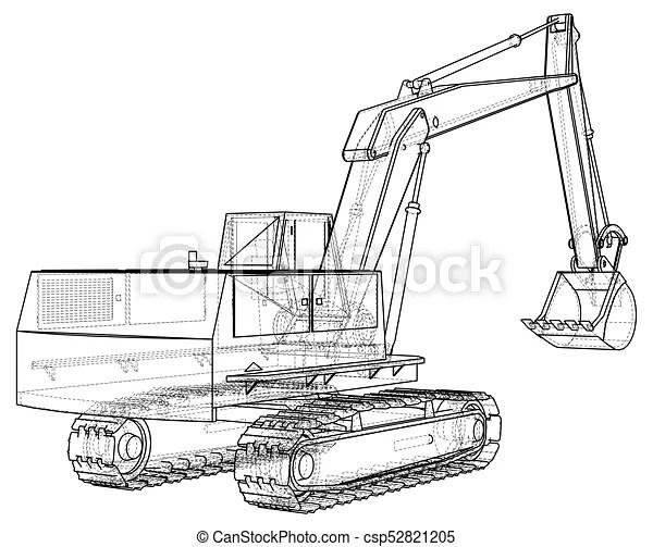 Excavator. black and white illustration. eps10 format