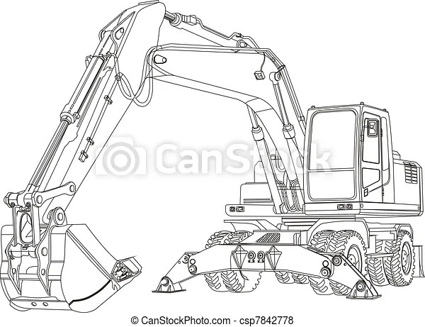 Excavator. Contour excavating machine isolated on white