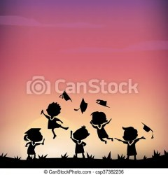 excited student graduate college happy silhouettes jump grass cartoon